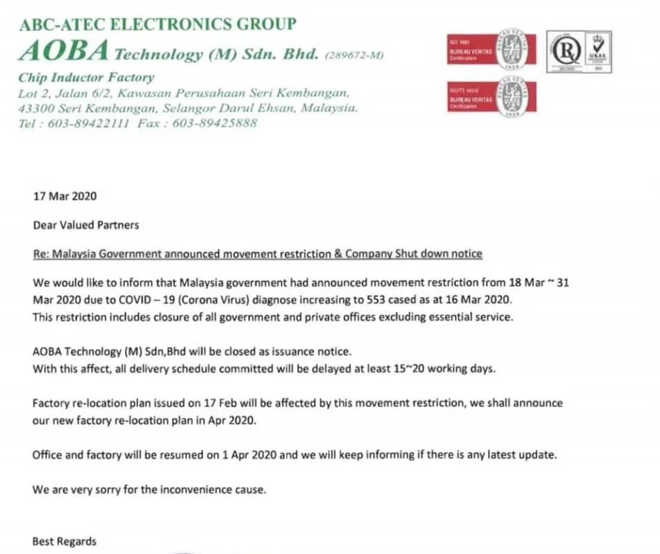 Electronic component supply affected by city lockdown in Southeast Asia-SemiMedia
