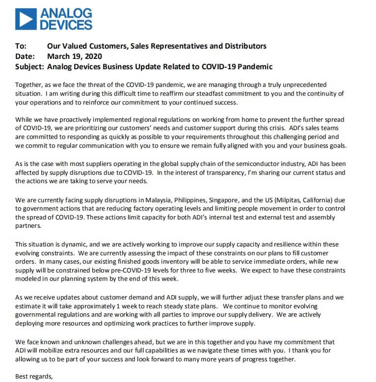ADI issues statement on the impact of COVID-19 on its supply chain-SemiMedia