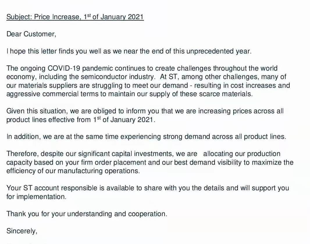 ST releases price increase notice-SemiMedia